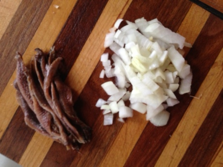 Chopped onion and anchovies